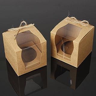 12 delar enkel transparent muffinslåda, 3,9x9x9cm transparent presentförpackning, bröllopslåda med insatser och band, sepa...