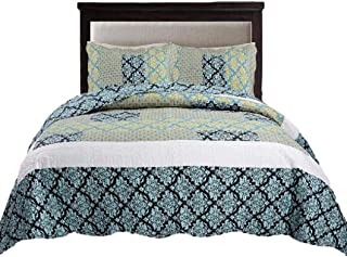 Tache Ivy Blue Patchwork Bedspread Quilt 3 Piece Lightweight Turquoise Floral Damask Reversible Patchwork Quilted Coverlet Set - King