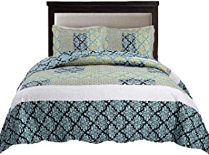 Tache 3 Piece Blue Ivy Damask Turquoise Teal Reversible Patchwork Lightweight Summer Matelasse Bedspread Coverlet Quilt Set, Cal King