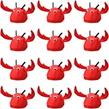 12-Pack Lobster Hats - Children's Halloween Unisex Costume Accessories - Headwear for Dress Up, Parties, Costumes - Red Crab Theme Birthday Party Headpiece - Crustacean, Fish, Animal Themed Outfits