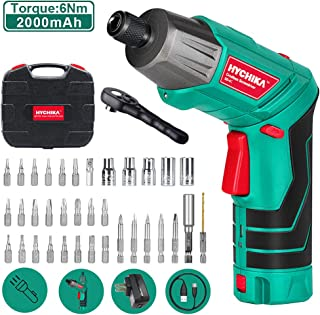 Cordless Screwdriver 6 N.m, HYCHIKA 3.6V 2.0Ah Electric Screwdriver, Front LED and Rear..