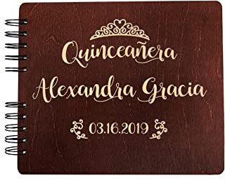 Quinceanera Guest Book Decorations Gift Rustic Wooden Guestbook (8.5