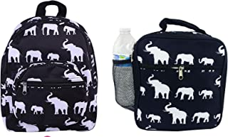 Black elephant Student Backpack with Insulated Lunch Bag Box Set for Kids Boys Girls children Cute Primary School bag Travel Casual Cute Printed Elephant(NB5-E-BW-1 NCC17)