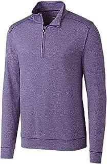 Cutter Men's Soft, Performance, Subtle Stripe Shoreline Half-Zip Pullover
