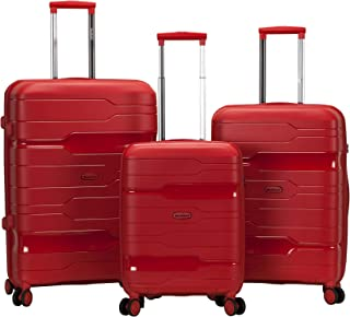 Rockland Linear 3-Piece Hardside Spinner Wheel Luggage Set, Red, (19/23/27)