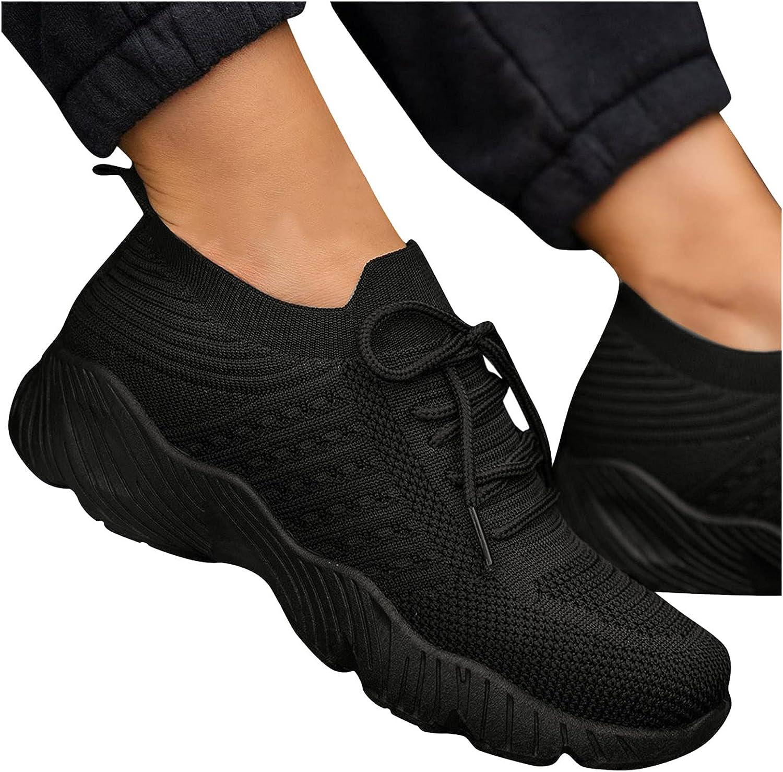 Niceast Women's Walking Shoes,Women Slip On Breathe Mesh Comfort Sneakers Fashion Lace Up Casual Work Nursing Shoes