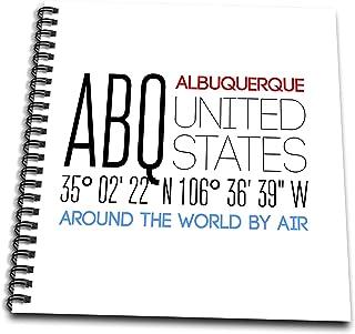 3dRose Alexis Design - Around The World By Air - Splendid text ABQ, Albuquerque, United States, location coordinates - Memory Book 12 x 12 inch (db_311108_2)