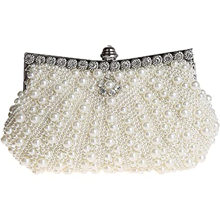 HONGCI Elegant Perle Strassstein Damen & Ladies Clutch Bag  Clutch Evening Bag  Bridal Bag  Wedding Clutch Tasche Handtasche (Beige)