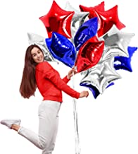 Treasures Gifted Silver Red and Blue Star Foil Balloons 18 Inch Mylar Pack of 12 Party Supplies for Birthday 4th of July USA Patriotic Party Photo Backdrops
