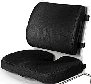 Memory Foam Seat Cushion and lumbar Support Pillow Set Straps On Both Cushion and Pillow With Extra Pocket Coccyx Tailbone...