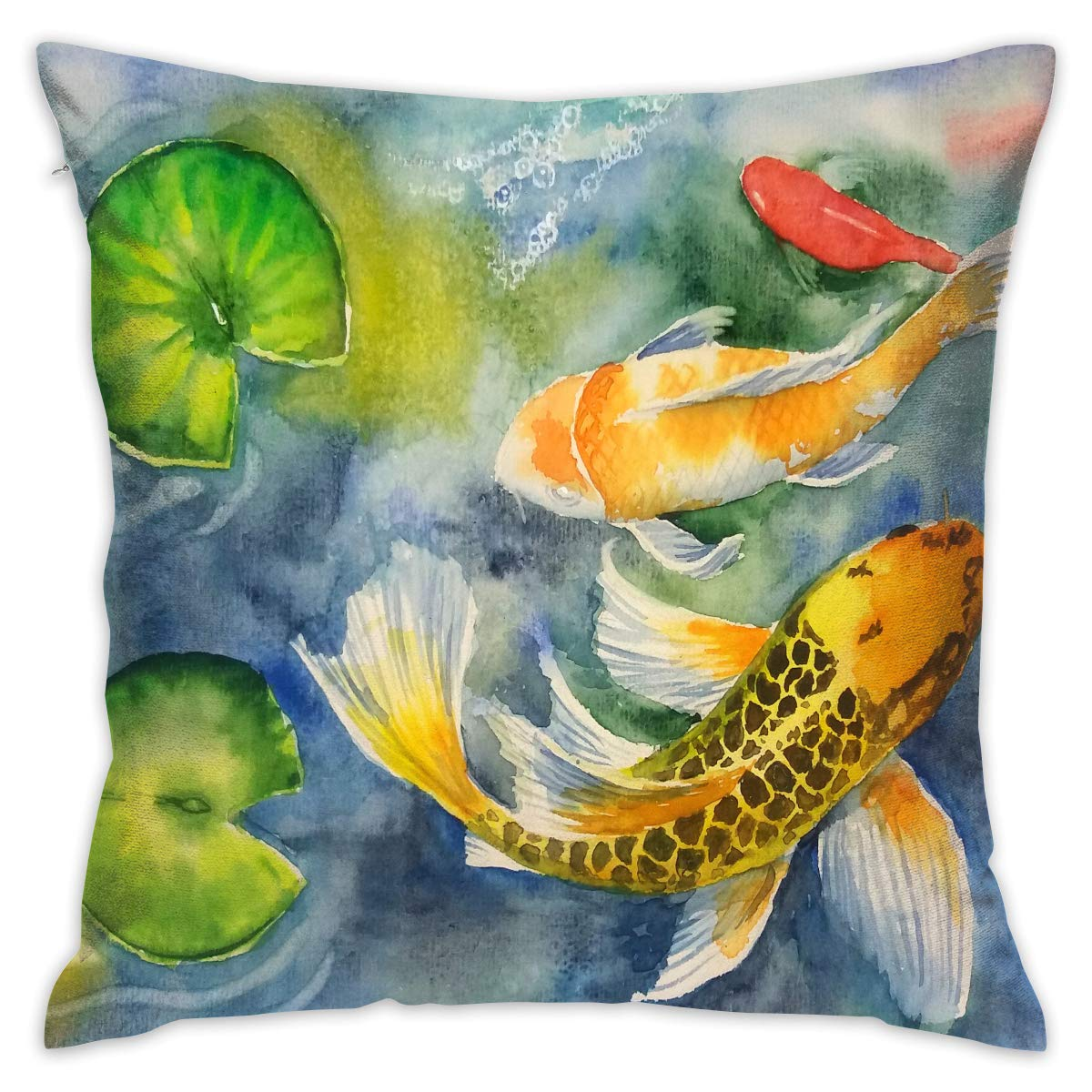 Amazon Com Japan Koi Fish Lotus Pond Decorative Throw Pillow Cover Without Inserts Cushion Case For Home Sofa Bedroom Car Chair House Party Indoor Outdoor 18 X 18 Inch 45 X 45 Cm