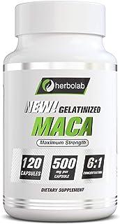 Black Maca Root Capsules Concentrate 6:1, Black & Purple Low-Temp Gelatinized Maca Root 100% Pure Organic Vegan, 120x500mg...