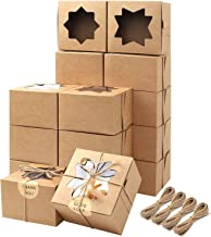 Moretoes 50pcs Brown Bakery Boxes with Window Cupcake Boxes 4x4x2.5 Inches Cookie Boxes Kraft Paper Gift Boxes for Pastrie...