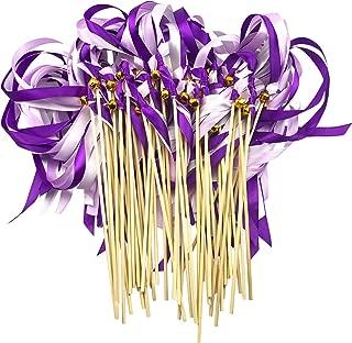 Cieovo Pack of 50 Wedding Christmas Birthday Party Silk Ribbon Sticks Streamers with Bells Fairy Stick Wands Dark Purple&Purple