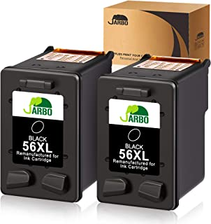 JARBO Remanufactured Ink Cartridges Replacement for HP 56 56 XL 56XL, Used with Deskjet 5150 5550 5650 5850 Photosmart 7260 7350 7450 7550 7660 7760 7960 Officejet 4215 PSC 1210 1315 Printer, 2 Black
