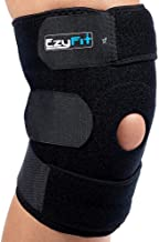 EzyFit Knee Brace Support for Arthritis, ACL, LCL, MCL, Sports Exercise, Meniscus Tear Injury Recovery - Side Stabilizers Open Patella - Best Comfort Fit Adjustable Neoprene Wrap - 3 Sizes