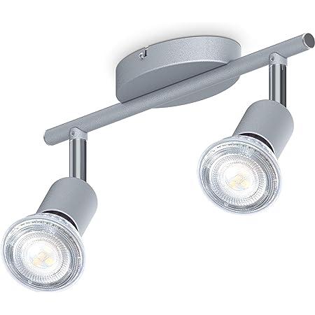 B.K.Licht plafonnier 2 spots pivotants & orientables, 2 ampoules LED 5W GU10, barre spots plafond salon salle à manger cuisine couloir, lumière blanche neutre 4000K, couleur titane