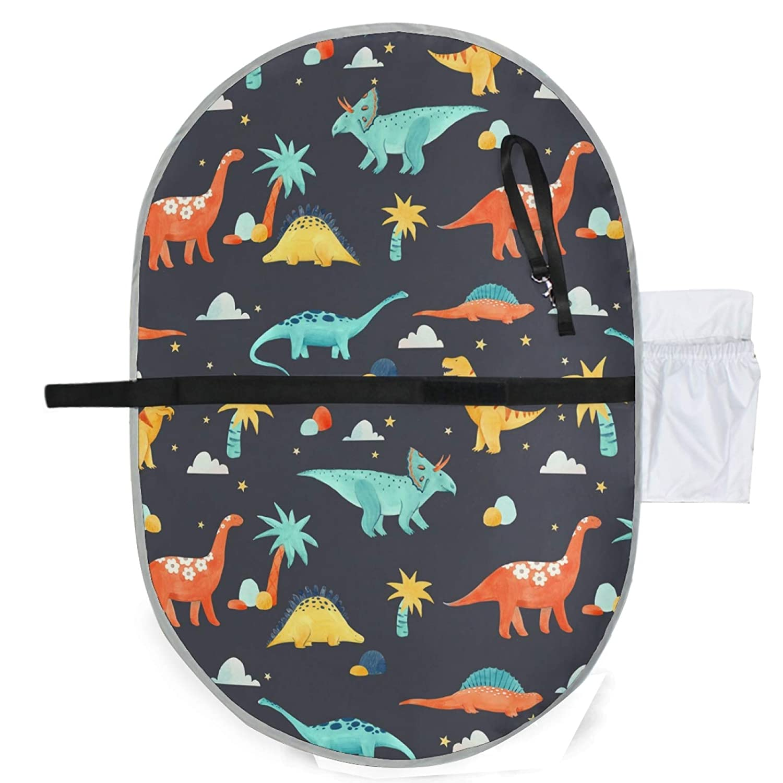 Waterproof Baby Changing Pad, Cute Dinosaur Portable Diaper Bag Mat, Foldable Travel Changing Mat for Infants Newborns