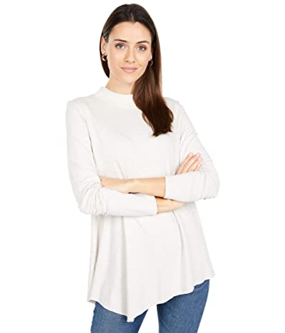 Lilla P Flame Modal Asymmetrical Hem Mock Neck Tee (Alabaster) Women