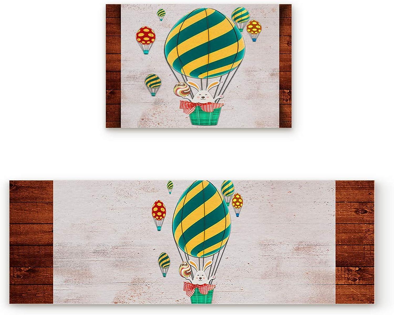 SODIKA Non Slip Kitchen Rug Set 2 Piece, Floor Mat Carpet Runner,Happy Easter Cartoon Bunny (19.7x31.5in+19.7x47.2 inches)