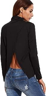 Women's Casual Back Slit Long Sleeve T-Shirt Tee Top
