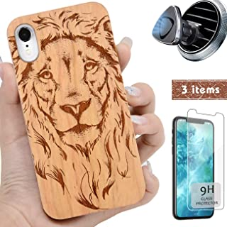 iProductsUS Wood Phone Case Compatible with iPhone XR, Magnetic Mount and Screen Protector, Engrave Cool Lion, Compatible Wireless Charging, Built-in Metal Plate, TPU Protective Cover (6.1 inch)
