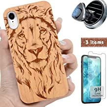 iProductsUS Wood Phone Case Compatible with iPhone Xs, X (10), Magnetic Mount and Screen Protector, Engrave Lion, Compatible Wireless Charging, Built-in Metal Plate, TPU Protective Cover (5.8 inch)