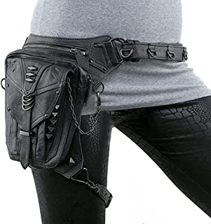 1760891aecd4 SmartHS PU Leather Motorcycle Lady Bag Steampunk Shoulder Waist Bag Thigh  Holster Bag Black