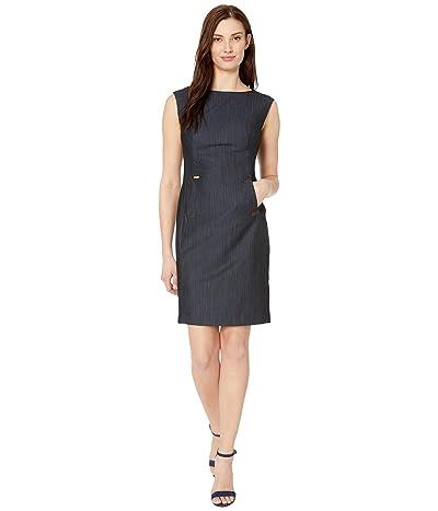 Calvin Klein Rayon Denim Sheath Dress with Hardware Detail (Blue) Women