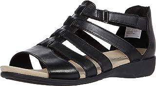 Aravon Women's Abbey Gladiator Flat Sandal, Black, 10 Wide