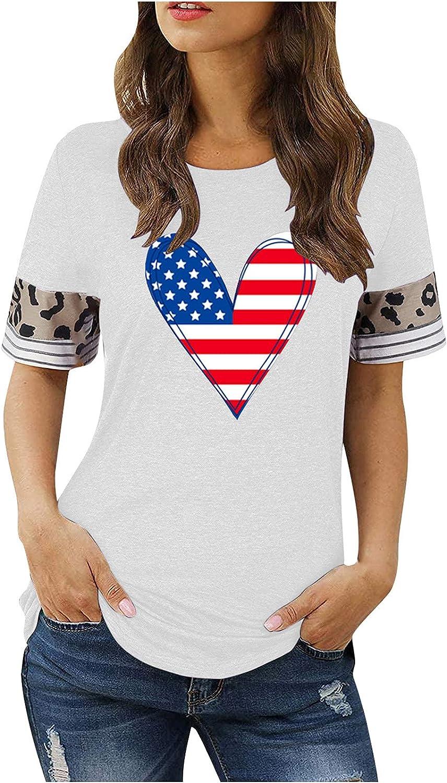 Bargain Fashion Womens Stripe Leopard T-Shirts Casual O-Neck Sleev Max 46% OFF Short