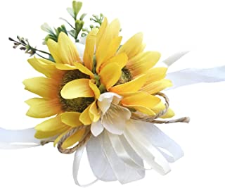 DALAMODA Sunflower Wrist Corsage-Girl Bridesmaid Wedding Prom Party Gril Wrist Corsage Party Prom Hand Flower Decor Pack of 1 (Wrist Corsage #2)