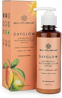 Bella Vita Organic Day Glow Face & Body Sunscreen Lotion SPF 30+ For All Skin Types - 200gm ,Ayurveda with Mango, Vitamin ...
