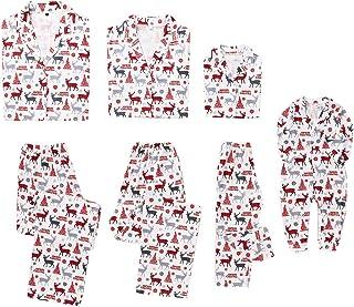 Petyoung Family Christmas Matching Pajamas Set, Elk Xmas Tree Outfits Nightwear Holiday Matching Pajamas