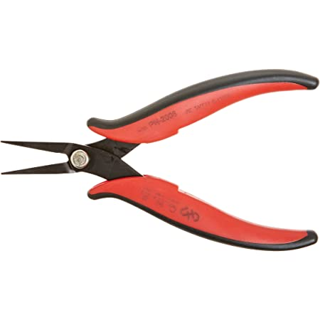 Hakko CHP PN-2008 Long-Nose Pliers, Flat Nose, Flat Outside Edge, Smooth Jaws, 32mm Jaw Length, 3mm Nose Width, 3mm Thick Steel