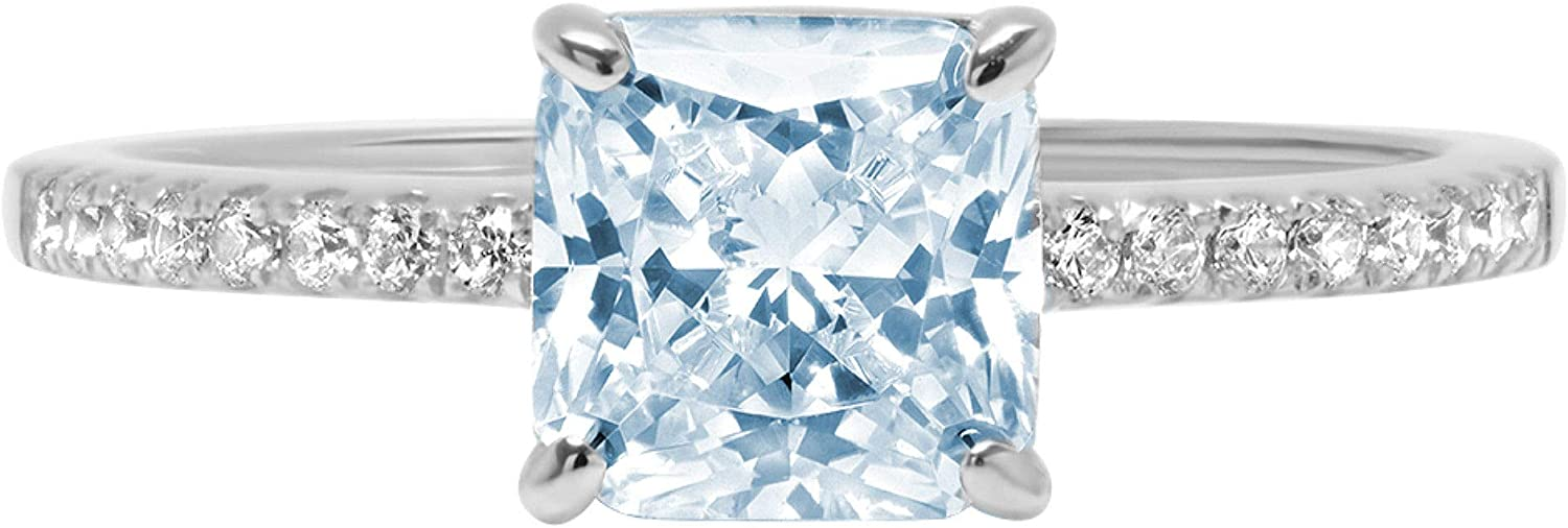 1.63ct Brilliant Asscher Cut Solitaire with Accent Natural Sky Blue Topaz Gem Stone VVS1 Designer Modern Statement Ring Real Solid 14k White Gold Clara Pucci