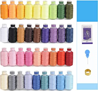KEIMIX 72Pcs Prewound Bobbins with Case & Sewing Threads Kits, 36 Colors Polyester 300 Yards Per Spools for Hand & Machine...