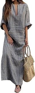 Jacansi Women's Cotton Linen Dresses Plus Size Long Kaftan Dresses with Pockets