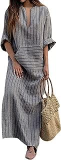 Women Summer Stripe Long Sleeve V-Neck Cotton Linen Plus Size Kaftan Dress S-5XL