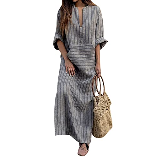 ff4a327deab BBYES Women Vintage Loose Striped Long Sleeve Casual Kaftan Boho Maxi  Cotton Linen Dresses