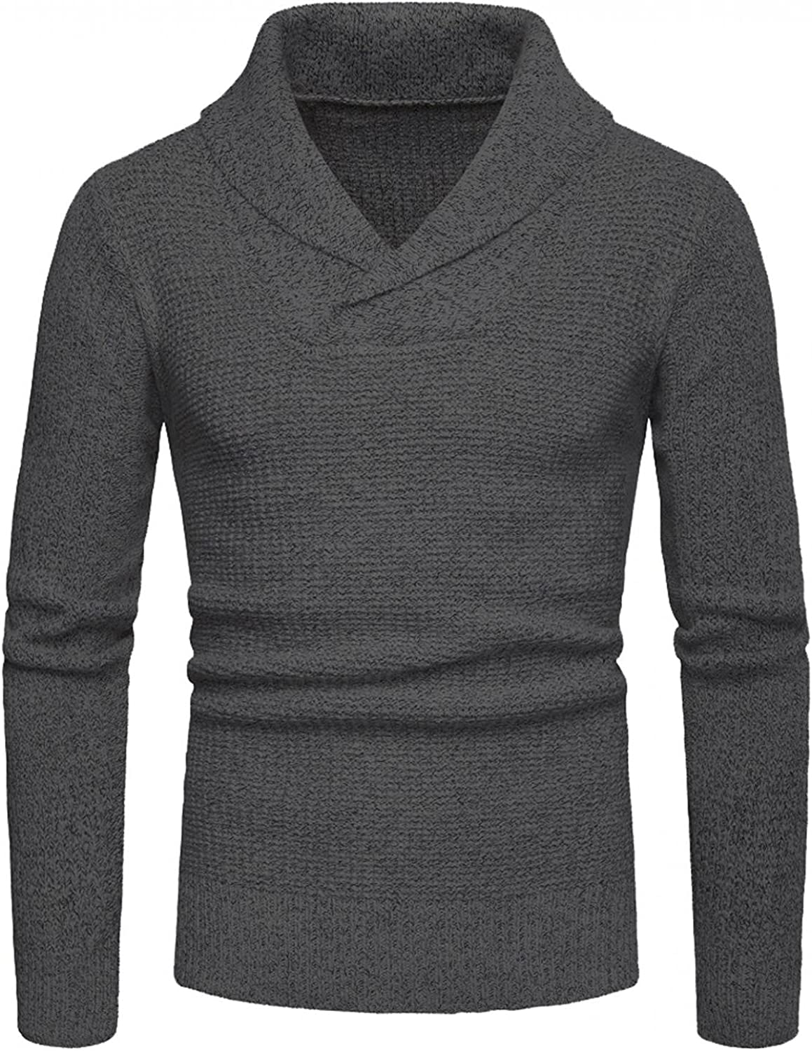 FUNEY Men's Shawl Collar Pullover Sweater Slim Fit Casual Long Sleeve V-Neck Cotton Cable Knit Sweaters Tops