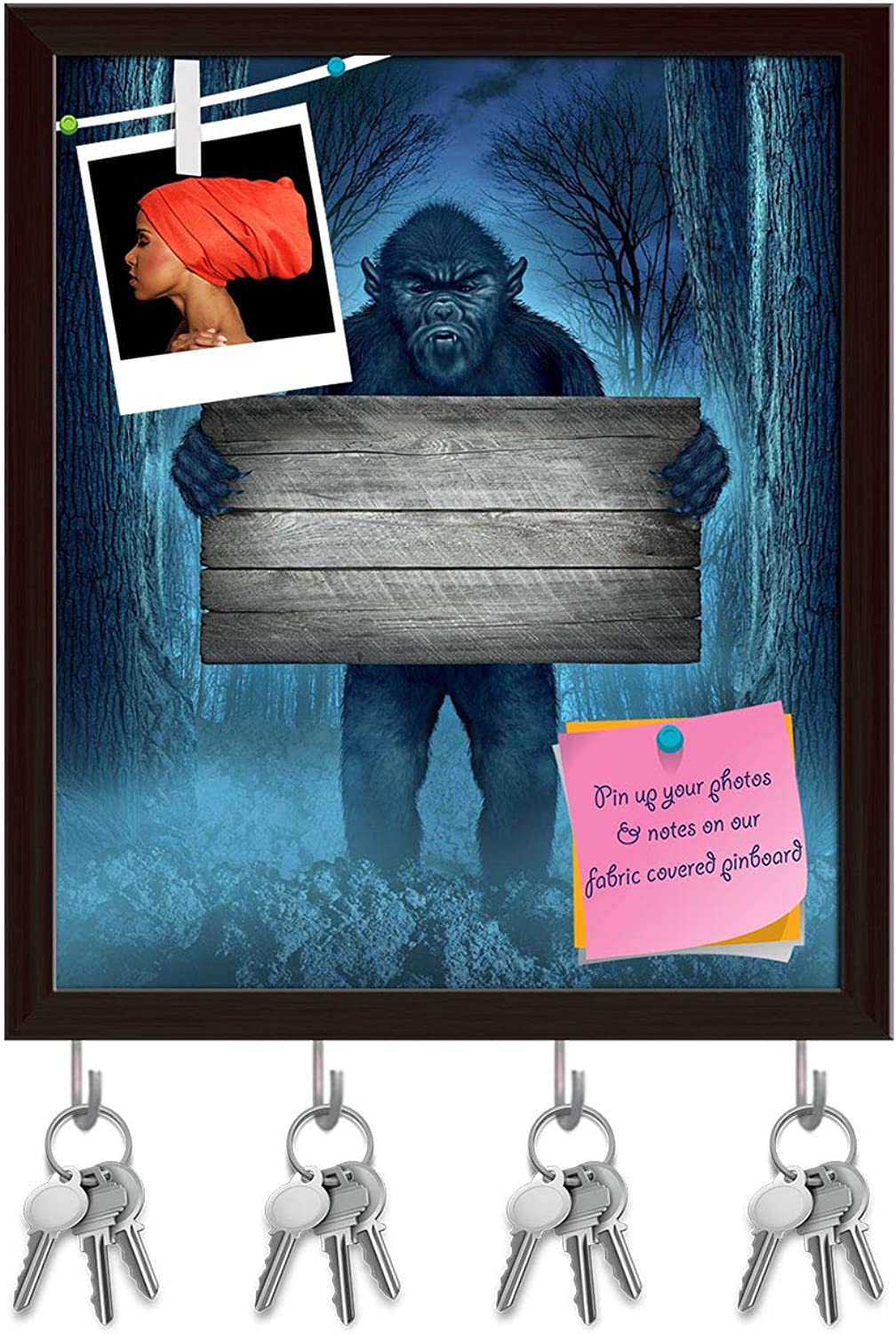 Artzfolio Monster Holding A Rustic Wood Sign Key Holder Hooks   Notice Pin Board   Dark Brown Frame 12 X 14.1Inch