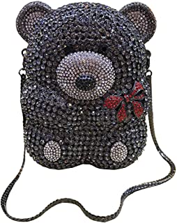 Lady Dazzle Full Diamond Clutch Cute Bear Evening Bag Bling Rhinestone Chain Bag Animal Purse