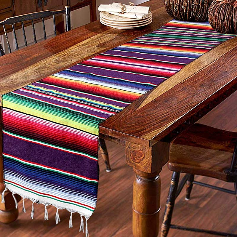 Hokic 14 X 84 Inch Mexican Table Runner For Mexican Party Wedding Decorations Fringe Cotton Mexican Serape Blanket Table Runner