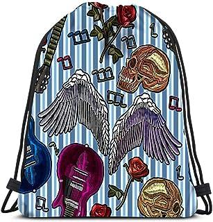 Mochila con cordón Bolsas deportivas Cinch Bolsas de mano Bordado Música Guitarra Rosas góticas Alas de ángel Cráneo humano Notas Roca para viajar y almacenar