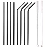 YIHONG Set of 8 Stainless Steel Metal Straws