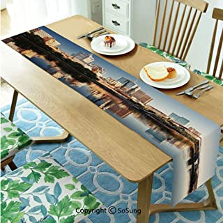City Table runner for Farmhouse Dining Coffee Table Decorative,Idyllic View of Yarra River Melbourne Australia Architecture Tourism 16