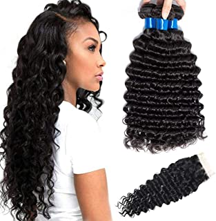 CRANBERRY HAIR Brazilian Virgin Deep Wave Hair 3 Bundles With Three Part Closure Natural Black Color 100% Unprocessed Human Hair Weave Weft with Lace Closure (10 12 14+8 closure, Three Part)