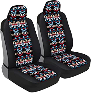 BDK Two Tone Pattern Car Seat Covers - Sideless Chic Style - Soft & Flexible Polyester (Aztec Pattern)