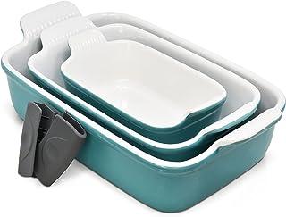 PERLLI Porcelain Bakeware Set, 3 Piece Nonstick Rectangular 9x13 Baking Pan Set PFOA PFOS PTFE Free, Turquoise Aqua Cerami...
